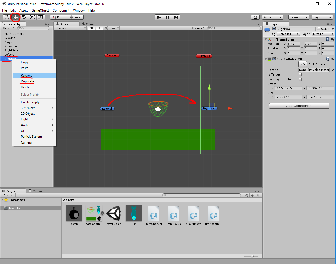 Unity3D: 2D Catch Game (tutorial for beginers)  Part 2