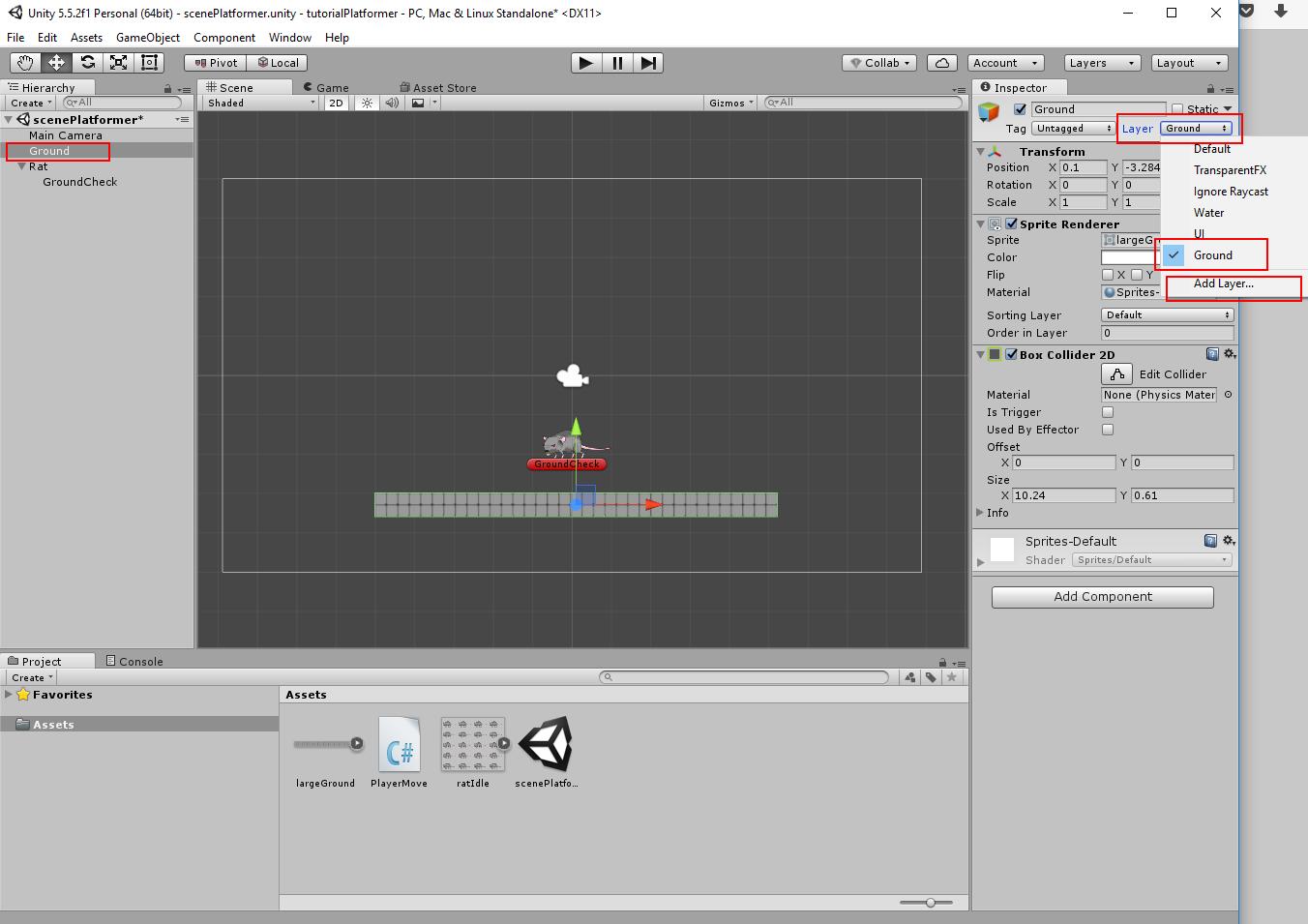 Unity: 2D platform game (tutorial for beginers)  Part 1